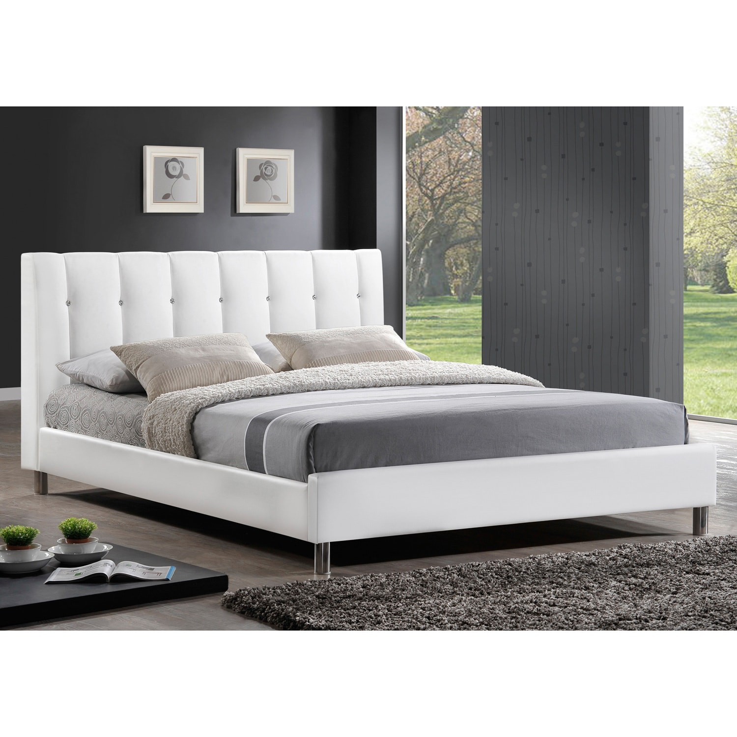 watch 76bc0 12817 Baxton Studio Vino Modern Queen-size Bed with Upholstered Headboard
