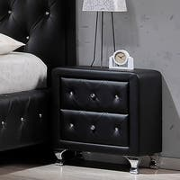 Silver Orchid Porten Crystal Tufted Black Upholstered Nightstand