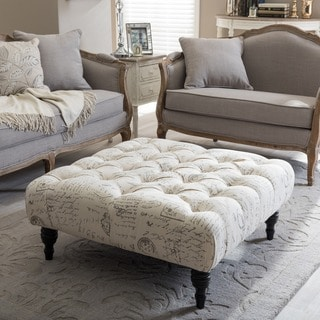 The Gray Barn Daisy Patterned Linen Modern Tufted Square Ottoman