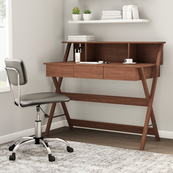 Porch & Den Victoria Park Brickell Oak Finish Modern Writing Desk