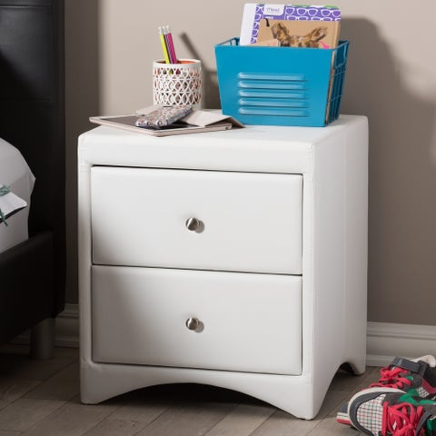 Baxton Studio Dorian White Faux Leather Upholstered Modern Nightstand