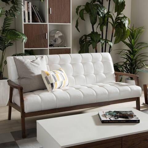 Carson Carrington Karkkila Mid-century White Faux Leather Sofa