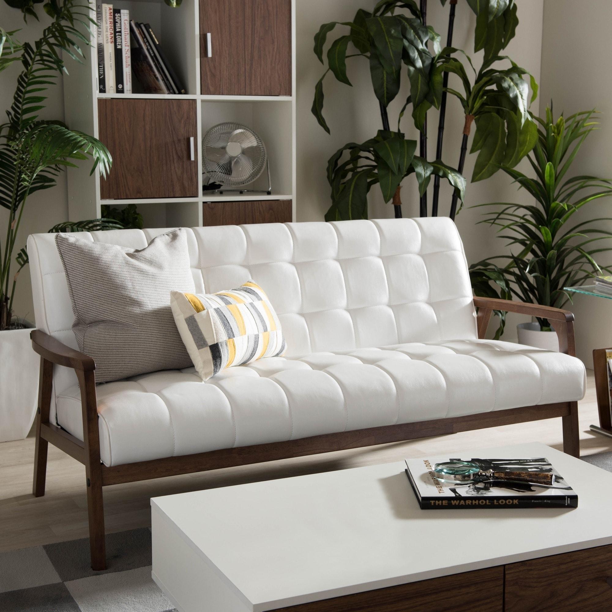 Carson Carrington Karkkila Mid Century White Faux Leather Sofa