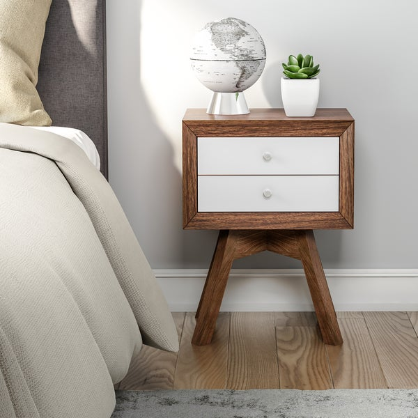 Carson Carrington Solna Modern Walnut and White Two-tone Nightstand