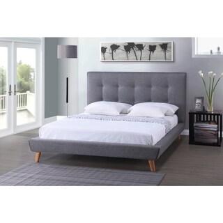 Strick & Bolton Mingus Mid-century Grey Upholstered Platform King Bed