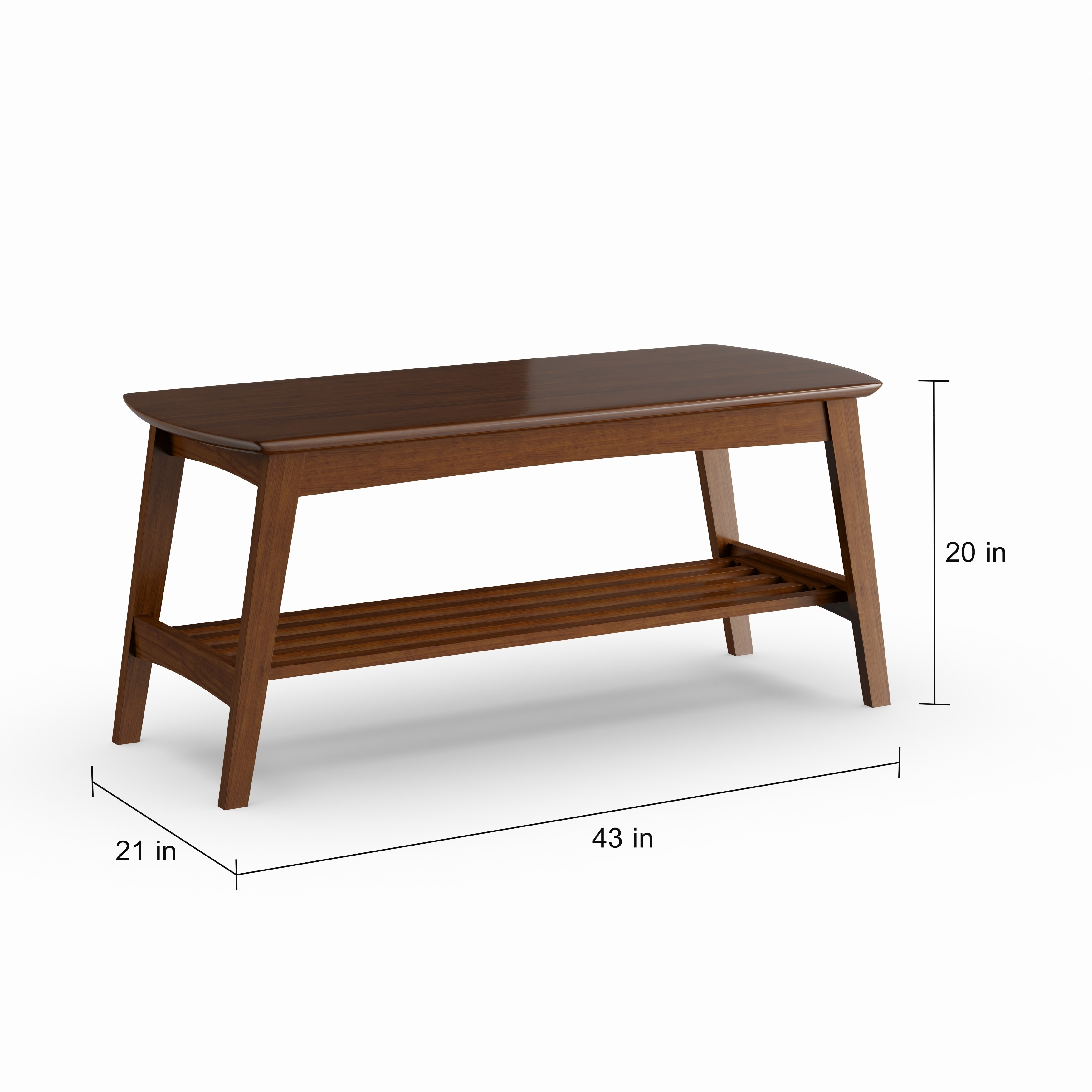 Carson Carrington Karkkila Mid Century Modern Scandinavian Style Dark Walnut Coffee Table