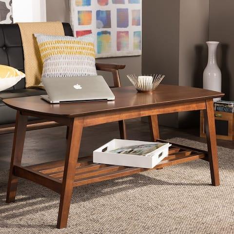 Carson Carrington Karkkila Mid-Century Modern Scandinavian Style Dark Walnut Coffee Table
