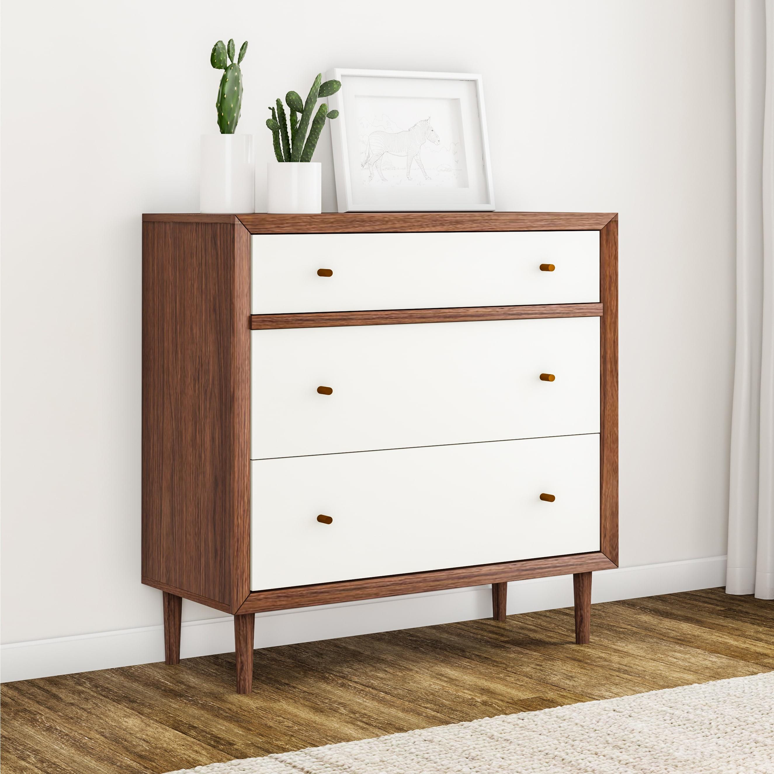 Carson Carrington Trollhattan Mid Century Modern White And Walnut Wood 3 Drawer Chest