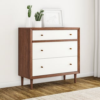 Carson Carrington Trollhattan Mid-century Modern White and Walnut Wood 3-drawer Chest