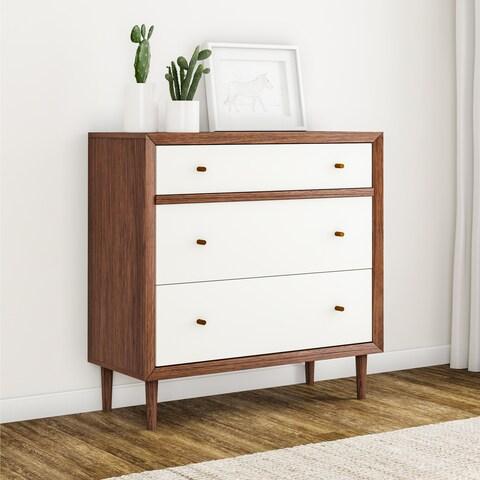 Carson Carrington Trollhattan Mid-century Modern White and Walnut Wood 3-drawer Chest