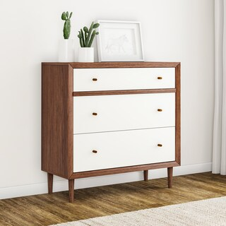 Carson Carrington Trollhattan White and Walnut Wood 3-drawer Chest