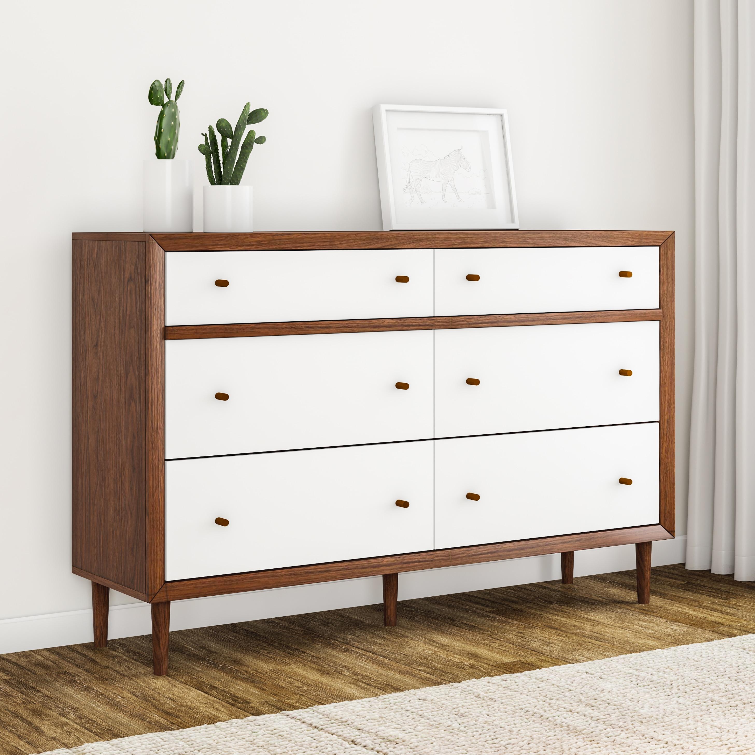Carson Carrington Trollhattan Mid Century Modern White And Walnut Wood 6 Drawer Storage Dresser