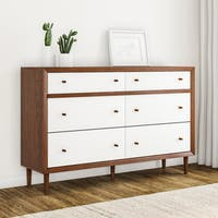 Carson Carrington Trollhattan Mid-century Modern White and Walnut Wood 6-drawer Storage Dresser