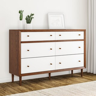 Carson Carrington Trollhattan White and Walnut Wood 6-drawer Dresser