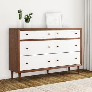 Carson Carrington Trollhattan White And Walnut Wood 6 Drawer Dresser