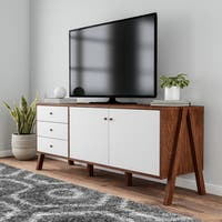 Carson Carrington Eskilstuna Mid-century Modern White Walnut Wood Sideboard Storage Cabinet