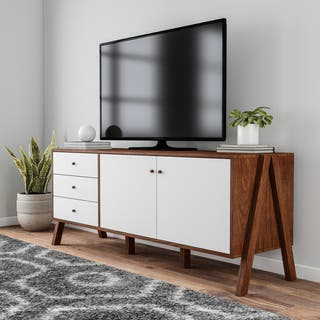 Carson Carrington Eskilstuna Mid Century Modern White Walnut Wood Sideboard Storage Cabinet
