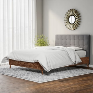 Carson Carrington Harjavalta Mid-century Grey Upholstered Walnut Wood Platform Bed