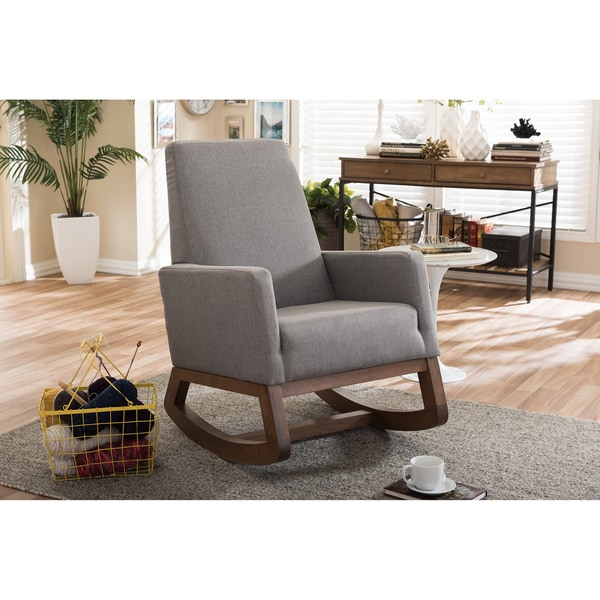 Strick Bolton Basie Mid Century Modern Grey Upholstered Rocking Chair