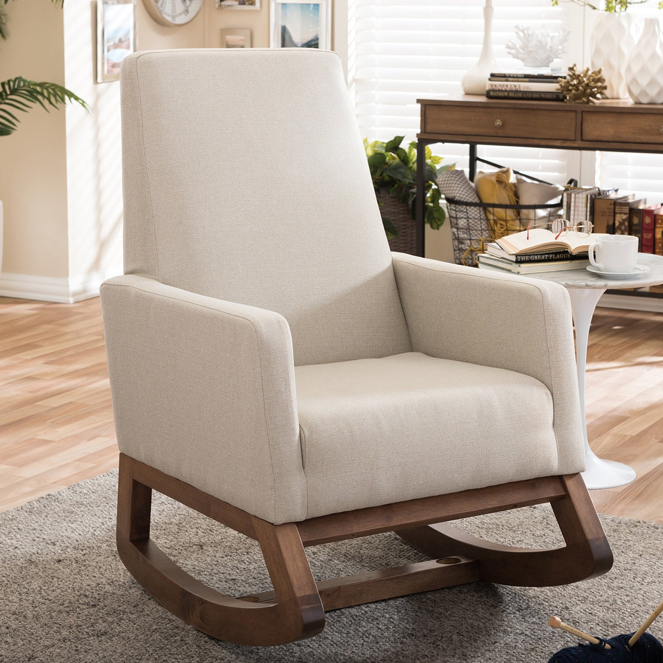 Astonishing Carson Carrington Honningsvag Mid Century Modern Light Beige Upholstered Rocking Chair Creativecarmelina Interior Chair Design Creativecarmelinacom