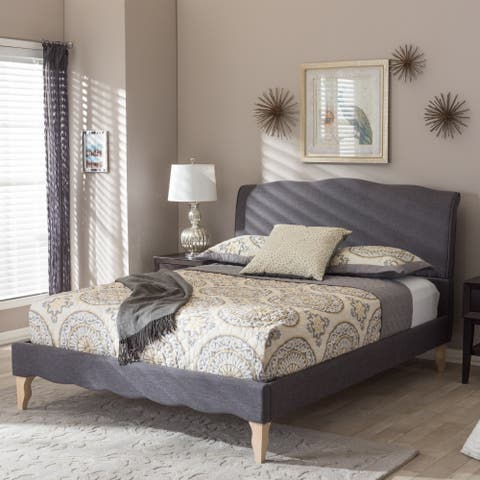 The Gray Barn Ayrshire Downs French Classic Modern Style Dark Grey Polyester Fabric Platform Bed