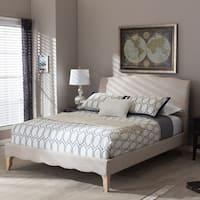 Maison Rouge Adrian French Classic Modern Style Beige Linen Fabric Platform Bed