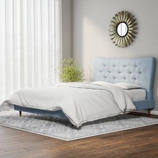 Baxton Studio Hermia Mid-century Modern Sky Blue Fabric Platform Bed