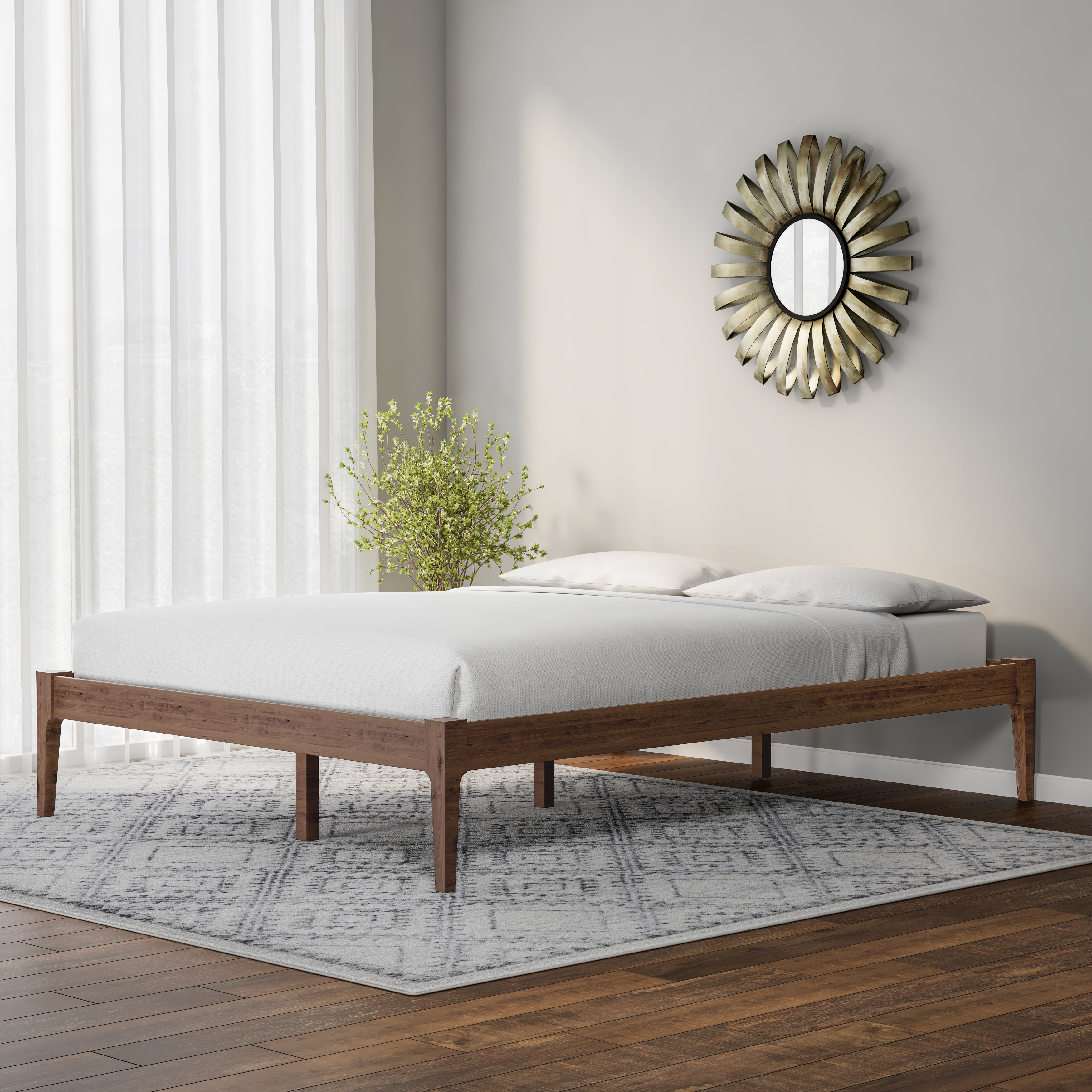 Shop Baxton Studio Mid Century Modern Solid Wood Platform Bed