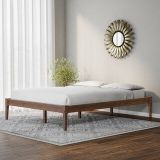 Carson Carrington Boras Mid-century Modern Walnut Solid Wood Platform Bed Frame (2 options available)