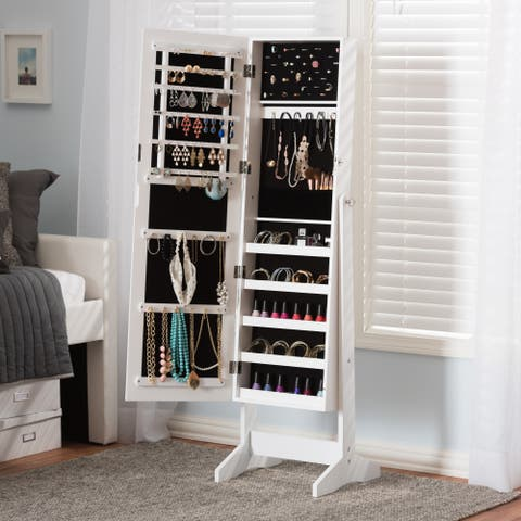 Porch & Den Varet White Freestanding Mirror Jewelry Armoire