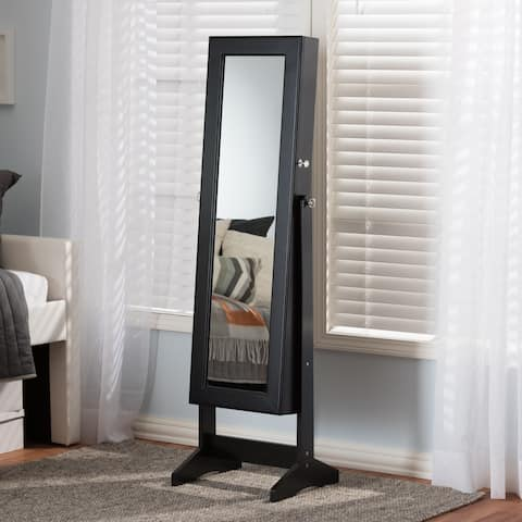 Porch & Den Varet Black Freestanding Mirror Jewelry Armoire
