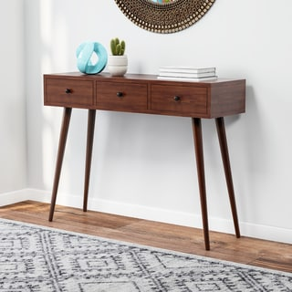 Carson Carrington Linkoping Mid Century 3 Drawer Wood Console Table