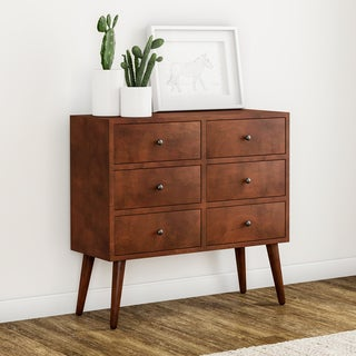 Carson Carrington Linkoping Mid Century 6 Drawer Wood Accent Chest