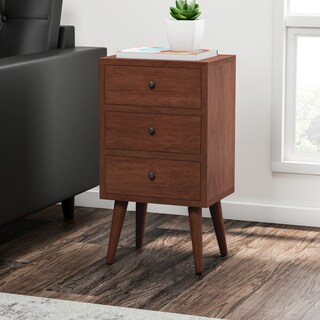 Mid-century 3-drawer Wood Side Table