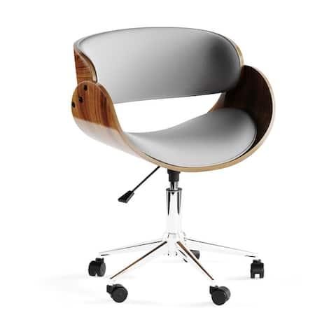 Carson Carrington Gavle White/ Wood Mid-century Office Chair