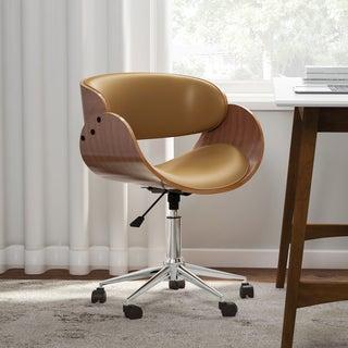 white wooden office chair. Carson Carrington Gavle White/ Wood Mid-century Office Chair White Wooden