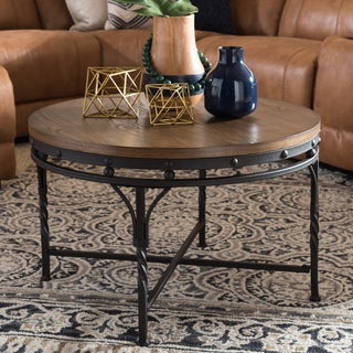 Carbon Loft Cohn Antique Bronze Finish Iron Base Industrial Round Table