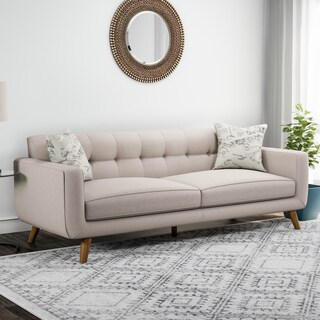 Carson Carrington Nesbyen Beige Sofa with 2 Accent Pillows