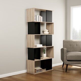 Carson Carrington Orebro Twist Tan/ Black Wood 7-shelf Bookcase