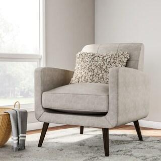 Carson Carrington Keflavik Mid-century Dove Grey Linen Arm Chair