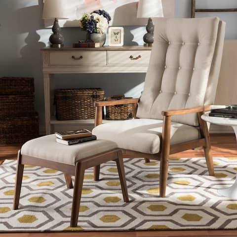 Carson Carrington Forssa Mid-century Walnut Wood Upholstered Lounge Chair and Ottoman Set