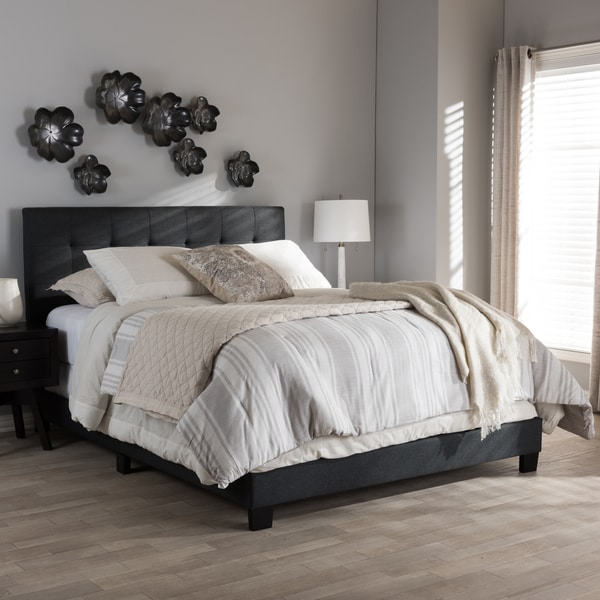 Porch & Den Bayview Charcoal Grey Upholstered Bed. Opens flyout.