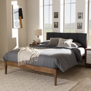Link to Mid-Century Fabric and Wood Platform Bed by Baxton Studio Similar Items in Bedroom Furniture