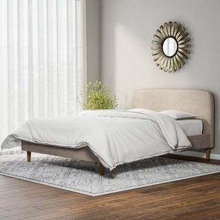 Mid-Century Fabric Upholstered Platform Bed by Baxton Studio