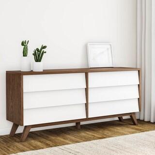 Mid-Century White and Brown Dresser by Baxton Studio