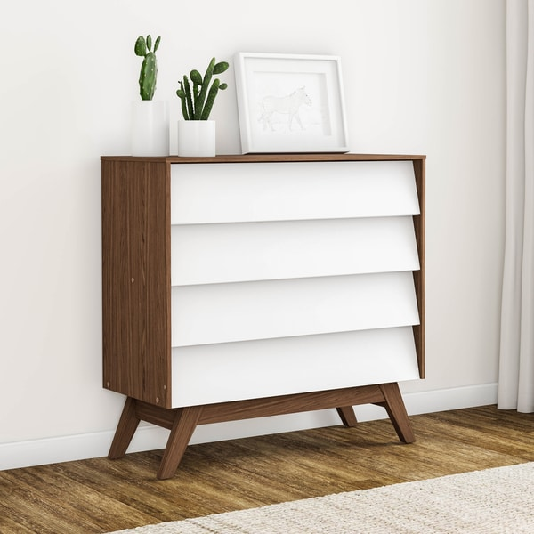 Shop Carson Carrington Halmstad Mid-century White and Brown 4-drawer ...