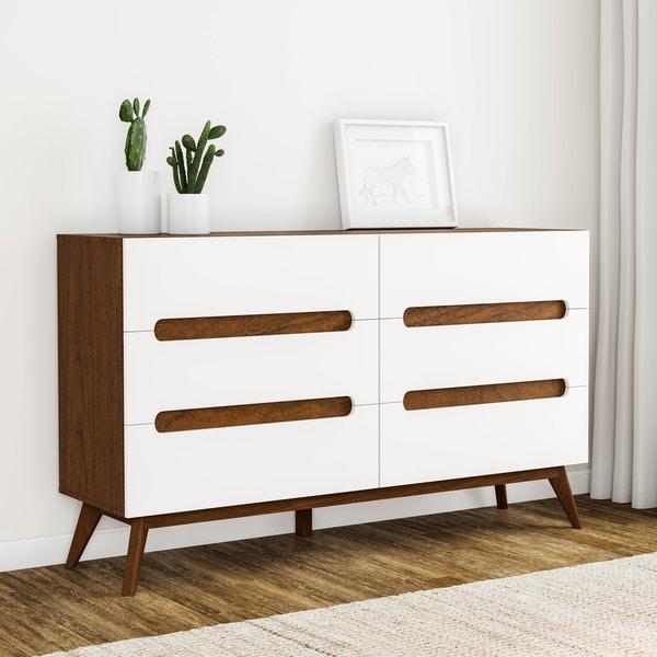 Carson Carrington Sundsvall Mid-century White and Walnut 6-drawer Chest