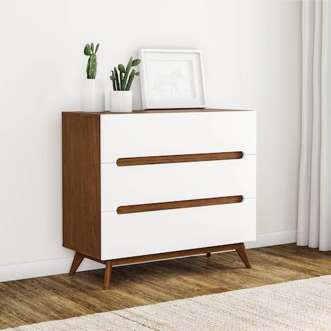 Carson Carrington Sundsvall Mid-century White and Walnut 3-drawer Chest