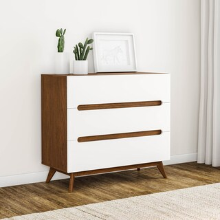 Carson Carrington Sundsvall Mid-century White and Walnut 3-drawer Chest