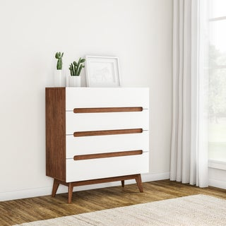 Carson Carrington Sundsvall Mid-century White and Walnut 4-drawer Chest
